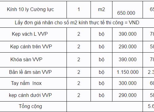 Giá cửa kính chịu lực cùng phụ kiện cho loại cửa 8ly 10ly 12ly 2018